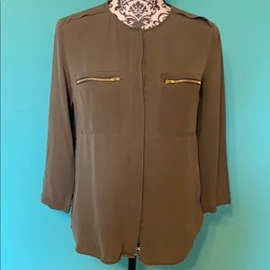 Theory Olive Button Down Professional Blouse M